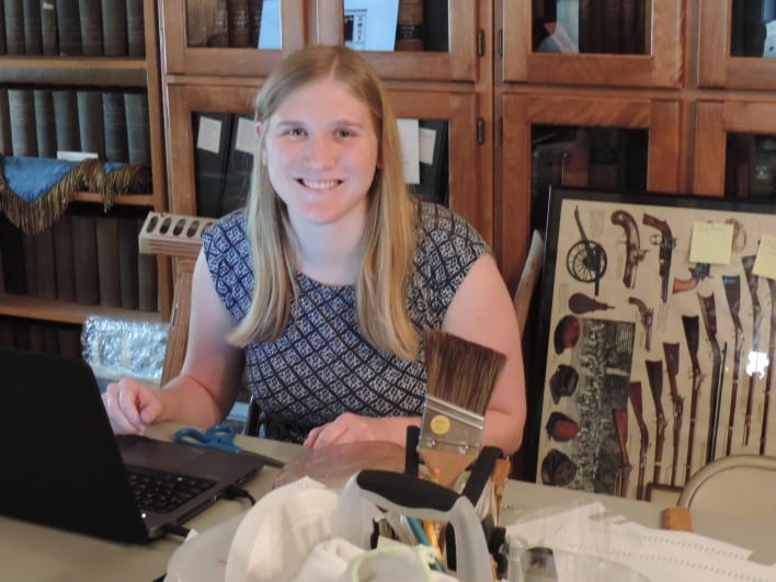 Rebecca Dickman has a history degree from Iowa State and is in the KU Museum Studies program working on a Master's degree. Special thanks to Freedom's Frontier National Heritage Area for the funding to support her. We are happy to have her with us this semester!