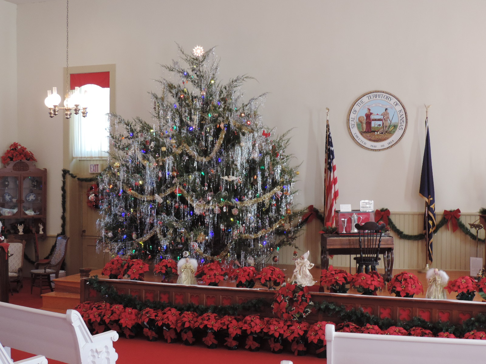 15 ft live cedar tree in the chapel of the territorial capital museum