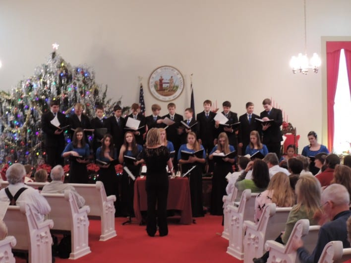 Perry-Lecompton High School singers, Traditional Christmas Vespers, 2014, Territorial Capital Museum in Lecompton, KS.