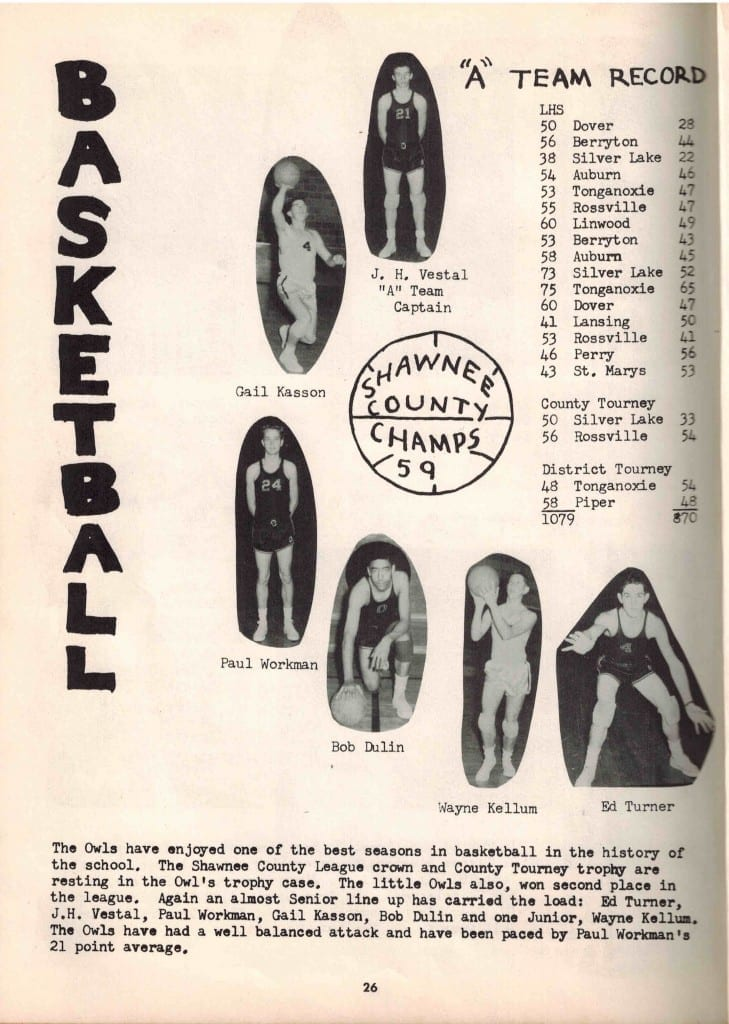 1959 Basketball team, page from yearbook