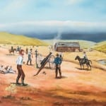 Original painting of the Battle of Fort Titus by Ellen Duncan, at the Territorial Capital Museum in Lecompton, Kansas.