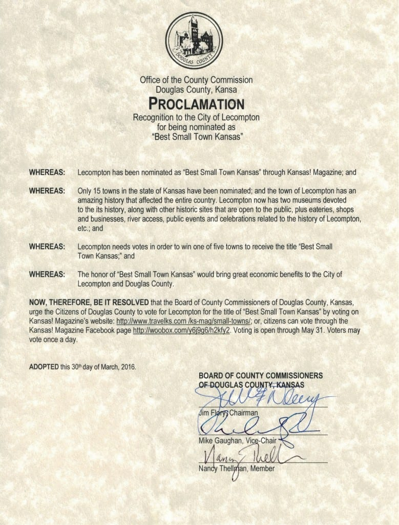 Voting proclamation from the county