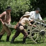 """Free Staters rolling in the cannon """"Old Sacramento"""" from Lawrence."""