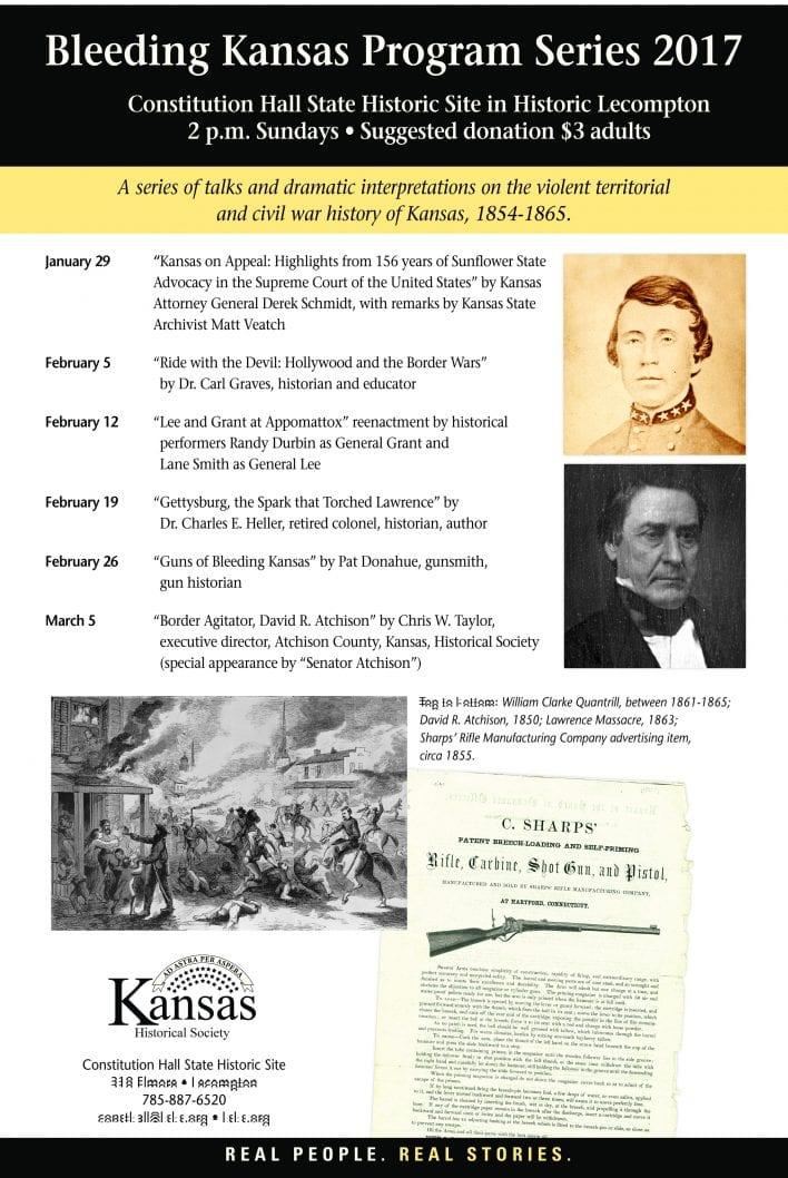 Bleeding Kansas, bleeding kansas lecture series, constitution Hall talks, constitution hall lecture series, lecompton lecture, lecompton talks