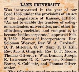 Lane University, Lecompton kansas