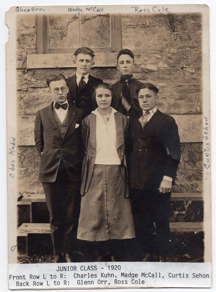The 1920 Junior Class pose in front of the old Lane U. building, which served as the Lecompton High School building until 1927.