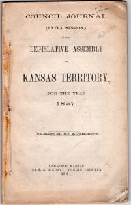 From the Lecompton Historical Society archives, Extra session, 1857, Kansas Territory