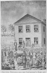 Jim Lane denouncing Lecompton front, Constitution Hall, Lecompton