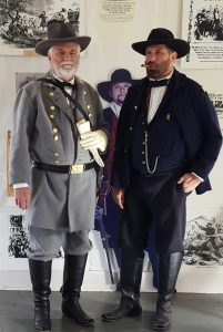 """Lee and Grant at Appomattox"" reenactment by historical performers Randy Durbin and Lane Smith."