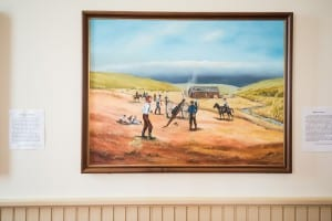 Painting of the Battle of Fort Titus by Ellen Duncan in the Territorial Capital Museum in Lecompton, Kansas.