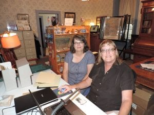 Monica Davis, left, served as our Project Curator with our KSHRAB project. Volunteer Deb Powell is on the right.
