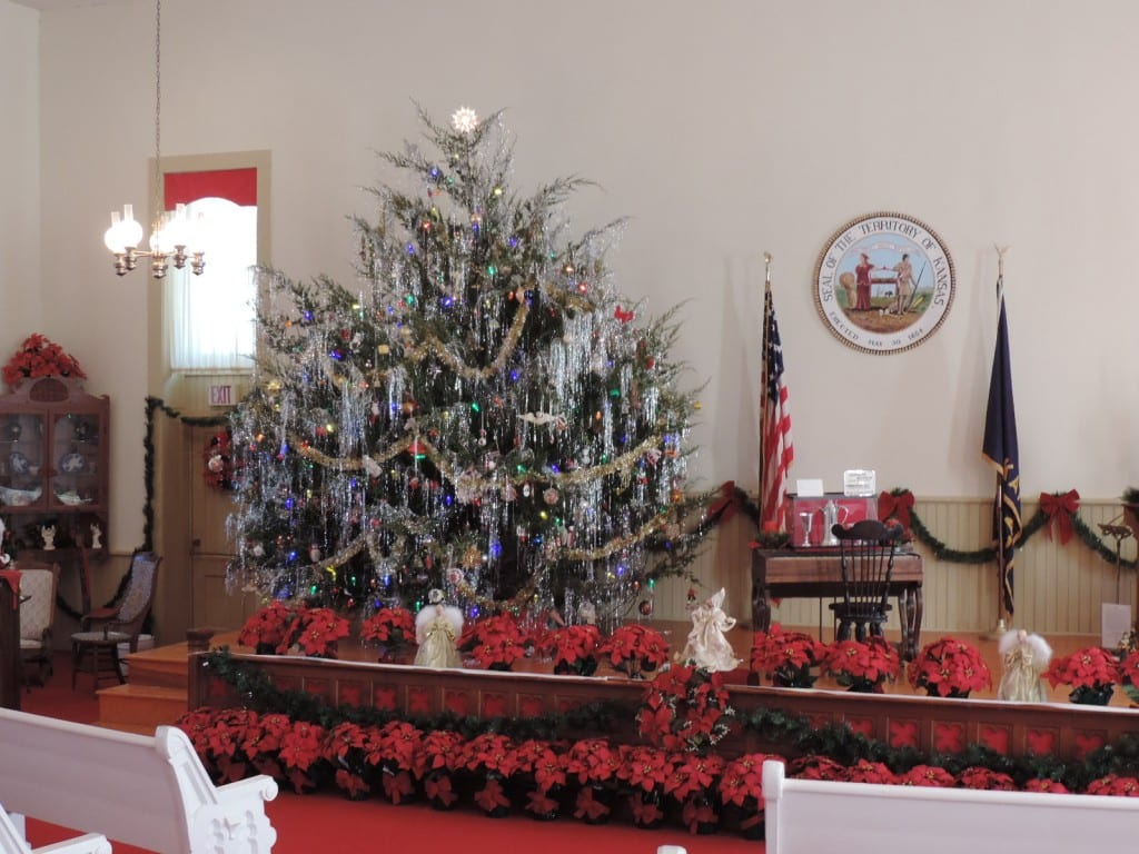 15 ft live cedar tree in the chapel of the Territorial Capital Museum.