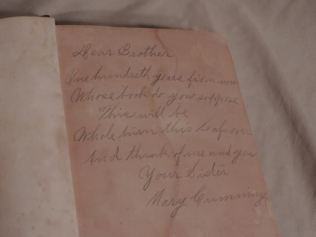 Mary's Inscription to Her Brother Bill