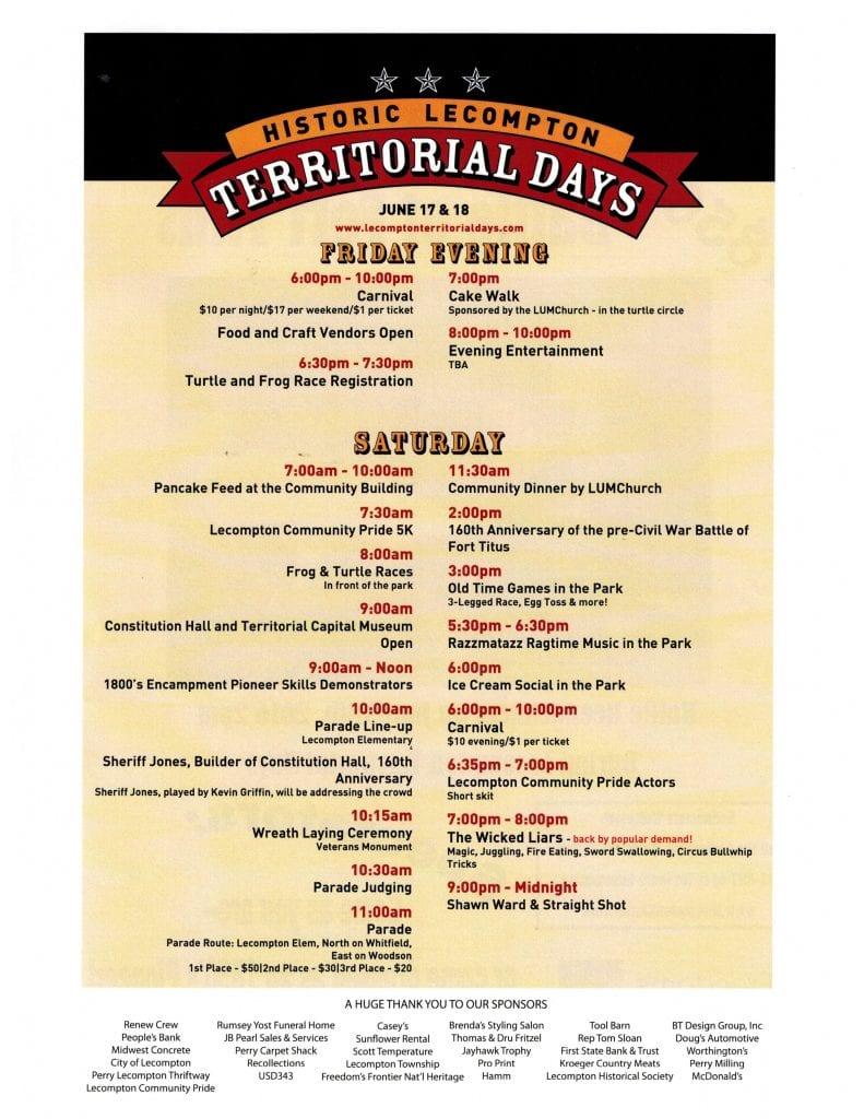 2016 Territorial Days schedule