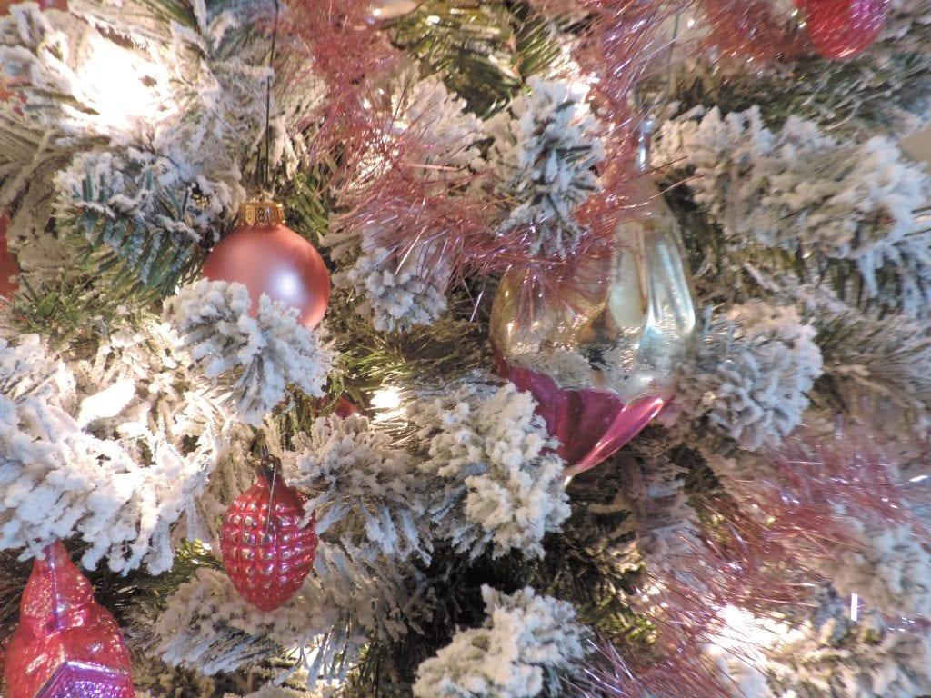 Lecompton, Christmas trees, Pink ornaments