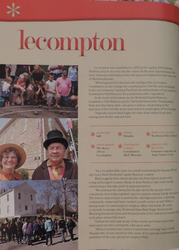 Article on Lecompton: One of the best small towns in Kansas!