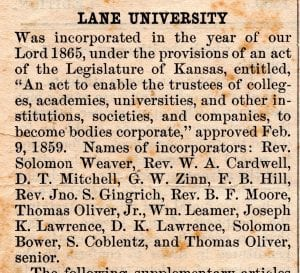 Lane University, Lecompton kansas