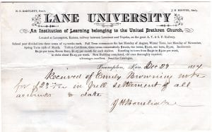 Lane University, bonebrake, kansas, lecompton